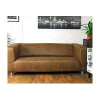 Ikea Klippan 2 seat slipcover in Tan Vintage Distressed Faux leather